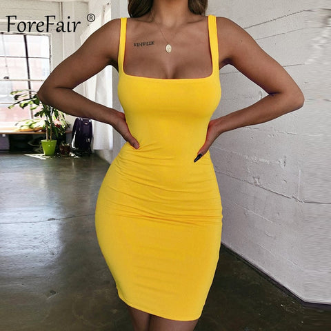 Forefair Spaghetti Strap Sexy Bodycon Dress Summer