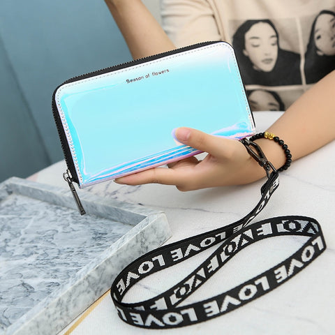 Holographic Wallet Zip Phone Pocket clutch bag