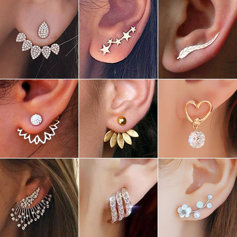 Earrings for Women Fashion Jewelry Gold Silver Rhinestones Earrings Gift