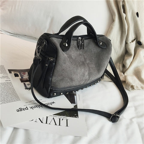 Women Top-handle Shoulder Bags With Rivets High Quality Leather