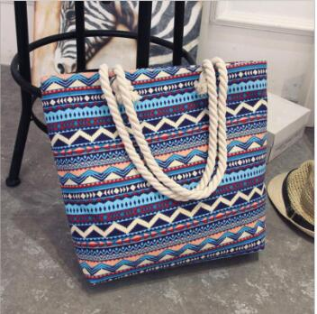 Ladies Casual Flower Printing Canvas Graffiti Shoulder Bag Beach