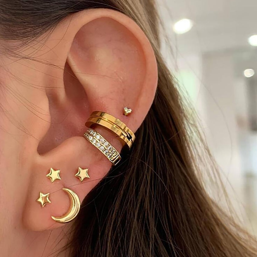 Fashion Gold Crystal Geometric Star Moon Earrings