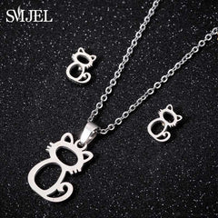 Stainless Steel Mickey Necklaces Women Mouse Animal Charm