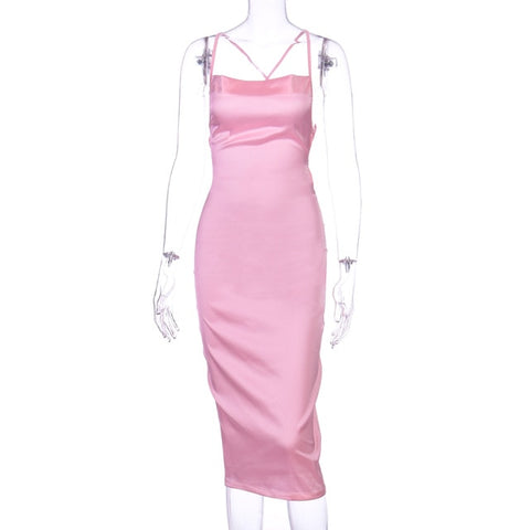 satin women bodycon long midi dress sleeveless