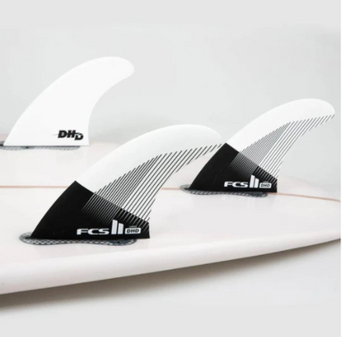 FCS II Black and White Darren Handley PC Quad Fins In a Surfboard - Jungle Surf Store - Bali Indonesia