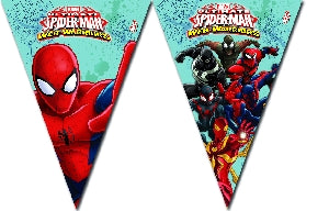 9 Banderines Spiderman Warriors - Mis Globos