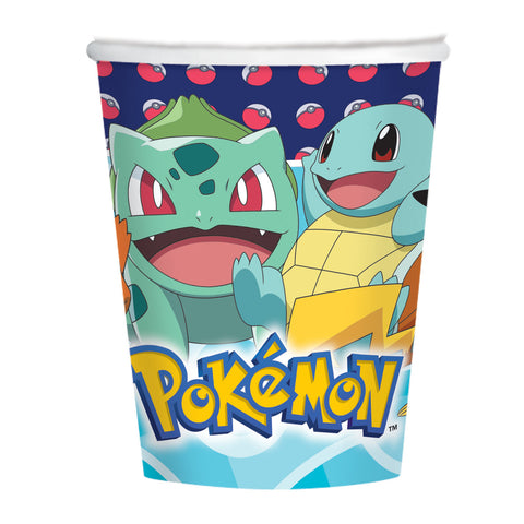 8 Vasos Pokemon 250 Ml - Mis Globos
