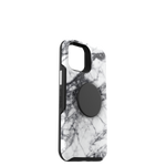 Otter+Pop Symmetry Series for iPhone 12 Mini, White Marble, PopSockets
