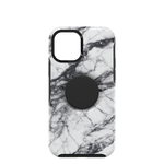 Otter+Pop Symmetry Series for iPhone 12 and iPhone 12 Pro, White Marble, PopSockets