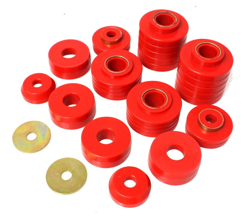 Energy Suspension 80-98 Ford F250/F350 / 80-92 Ford F100/F150 / 85-98 Ford F450 Red Body Mount Set