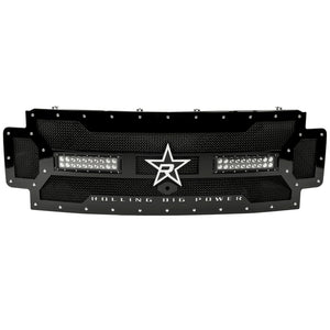 RBP RX-3 Midnight Edition Black LED Bar Grille (Studded) 17 Ford Super Duty F250/F350 w/Front Camera