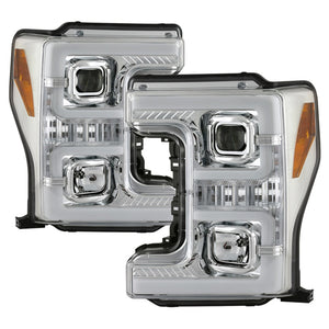 Spyder Ford F-250/F-350/F450 Super Duty 17-18 Projector Headlights Chrome PRO-YD-FS17-SBSEQ-C