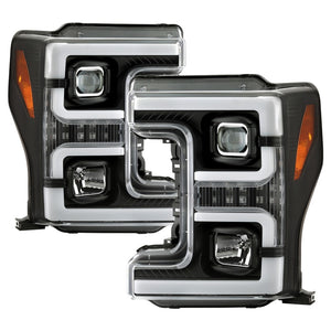 Spyder Ford F-250/F-350/F450 Super Duty 17-18 Projector Headlights Black PRO-YD-FS17-SBSEQ-BK