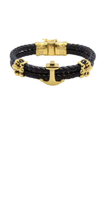 Anchor with flower cuff bracelet