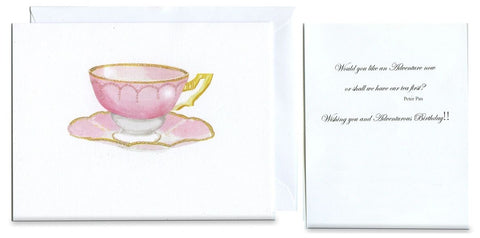 Pink Tea Folded Birthday Card - GNC965