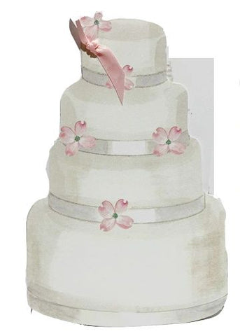 GAW1015 Cake with Pink Flowers Greeting Card
