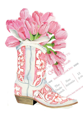 AW1055 COWGIRL BOOT WITH TULIPS