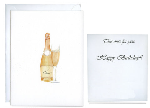 Pink Champagne Folded Birthday Card - GNC113