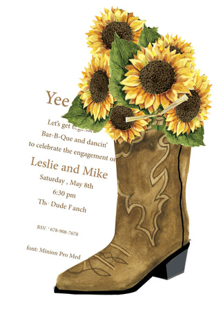 AW1053 WESTERN BOOT WITH SUNFLOWERS