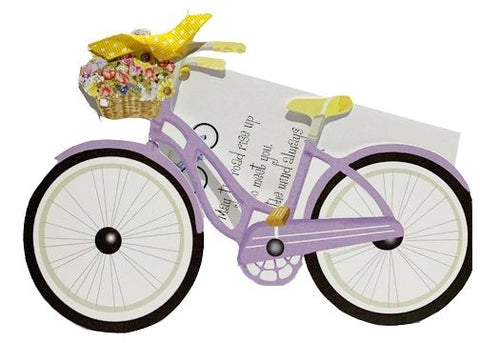 GAW1007W Bicycle with flowers with glitter
