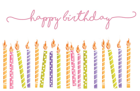 PM223 Happy Birthday Candles Pink