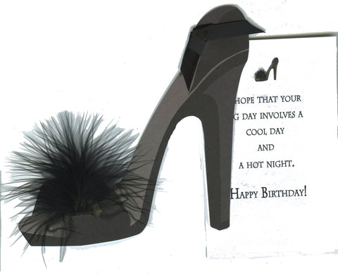 GAW815W Black Shoe with Feather