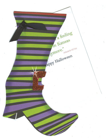 GAW928W Witches Shoe Greeting Card