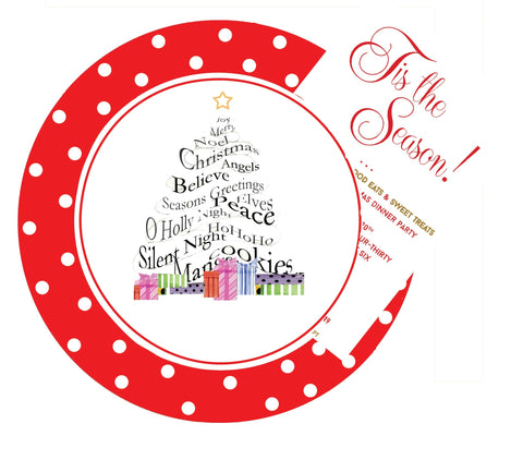 HW757W Christmas Plate with glitter