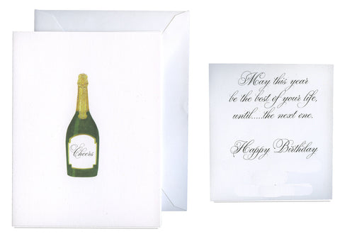 Champagne Bottle Folded Birthday Card - GNC155