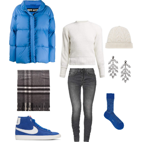 Cool Blue and White Winter Outfit for Summers