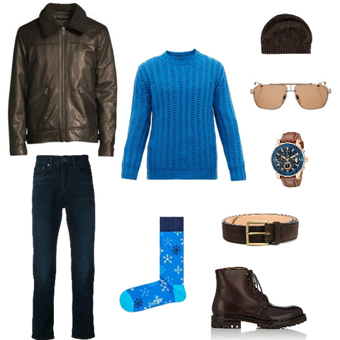 espresso brown and bright blue outfit for spring men