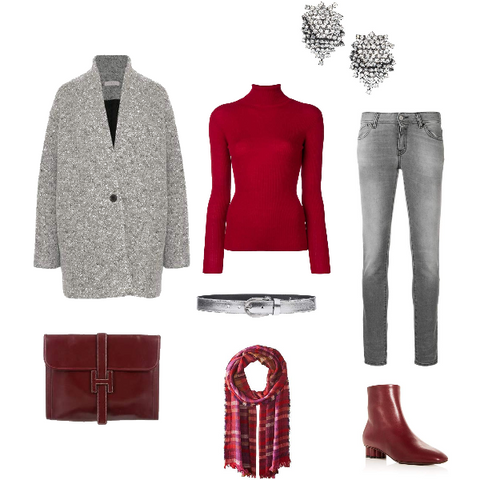 Gray and Burgundy Winter Outfit for Summers