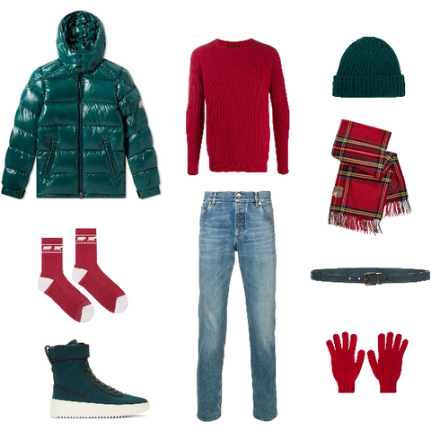 Red and Green Winter Outfit for Men