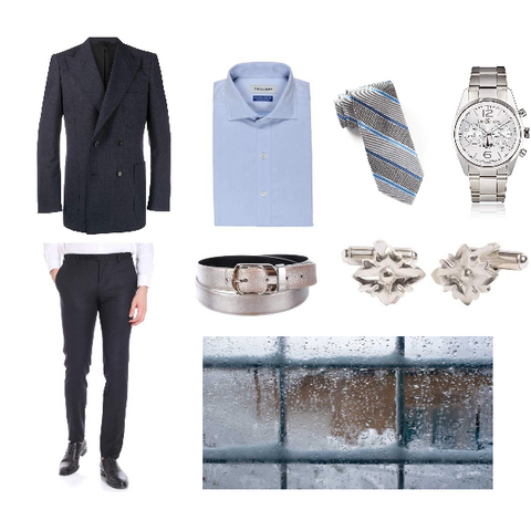 Soft Charcoal and Periwinkle Winter Outfit