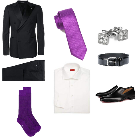 Violet and Black Formal Look for Spring Men
