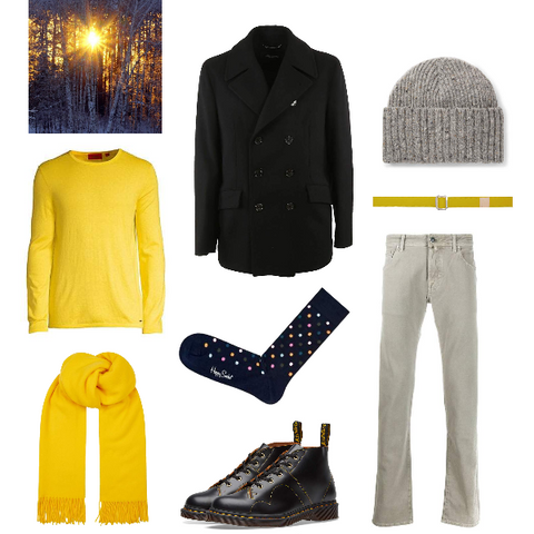 Black and yellow winter outfit for spring men