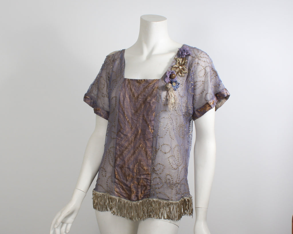 Vintage Antique 1920s Blouse Mauve and gold with fringed hem (FB357)