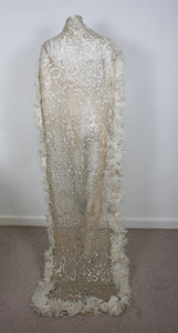 Antique Lace veil Train Gold tone lace with Ostrich feather edging