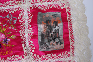 Antique WW1 Souvenir from France Hand embroidery pink silk and lace (FB332)