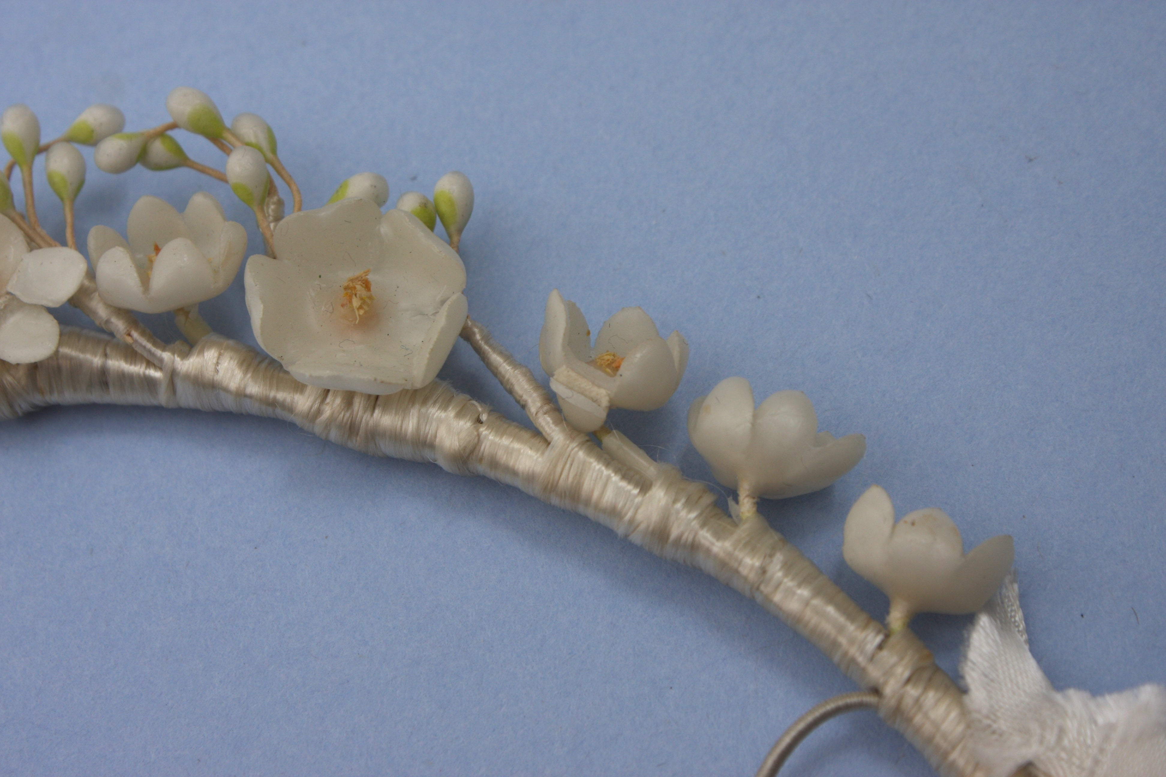 Vintage Wax flower Bridal headband Tiara Crown Wedding (FB314)