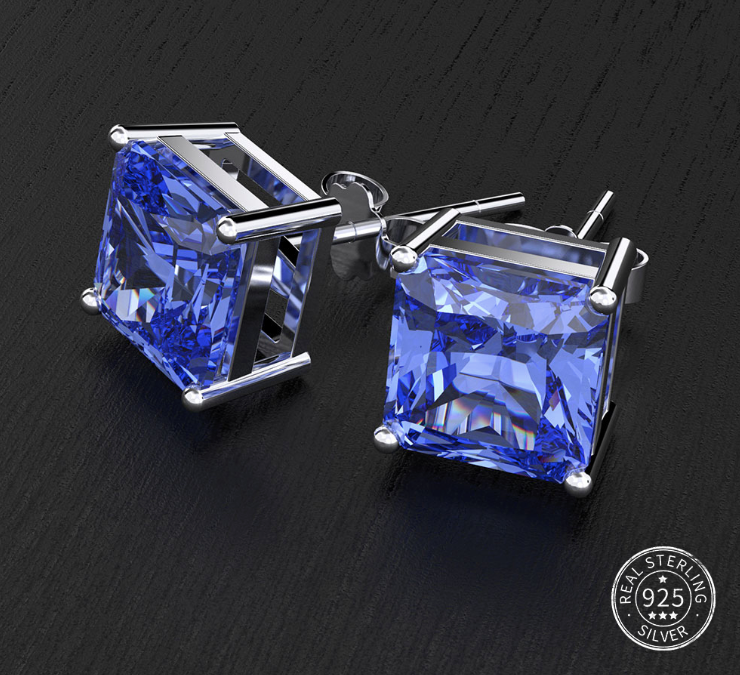 Blue Sapphire Stone Silver Studs