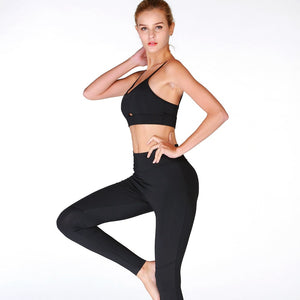 2 Piece Set Women's Sexy Camisole Sports Set, Yoga  Sportswear Bra and Stretch Pants Set.