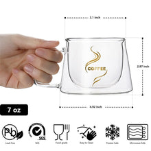 Load image into Gallery viewer, Heat Insulation Glass Coffee Mug, Double Wall Glass Coffee - Tea Cup.