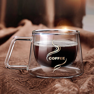 Heat Insulation Glass Coffee Mug, Double Wall Glass Coffee - Tea Cup.