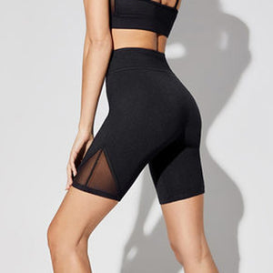 Summer Women's High Waist Black Mesh Stitching Yoga Shorts