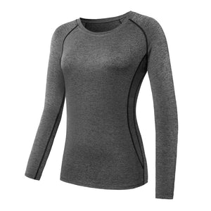 Women Long Sleeve Sports Compression T-Shirt Quick-Dry Gym Yoga Running Tops Tee