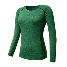 Load image into Gallery viewer, Women Long Sleeve Sports Compression T-Shirt Quick-Dry Gym Yoga Running Tops Tee