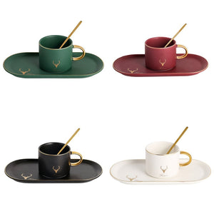 High Grade Gilt Geometric Pattern Coffee Cup Saucer Set Tea set With Spoon