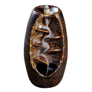 Ceramic Backflow Censer Incense Burning  Aromatherapy  Cone Diffuser Holder Buddhist Zen Censer