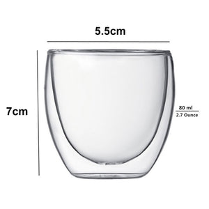 New 6Pcs 80ml 2.7oz Glass Double Wall Heat Insulated Tumbler Espresso Tea Cup Coffee Mug